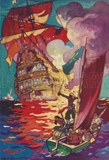 Pirates sailing away from a burning treasure ship