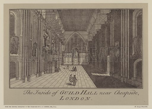 Inside of Guildhall, near Cheapside, City of London. Illustration for A Descriptive Account of the Guildhall of the City of London by John Edward Price (Blades, East, 1886). Exceptionally fine reproductions of original documents.