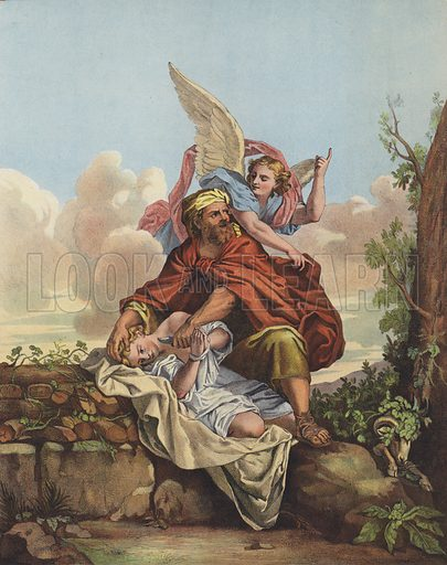 The Angel intervening to stop Abraham sacrificing his son Isaac.