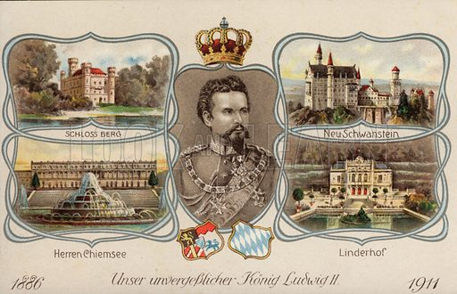 Ludwig II, King of Bavaria (1845-1886), and four of his castles. Postcard, early 20th century.