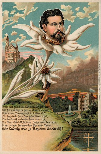 King Ludwig II of Bavaria (1845-1886) depicted as an edelweiss. Postcard, early 20th century.