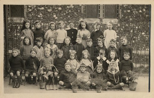 Class of school children, with an interest in nature study.  Postcard, early 20th century.