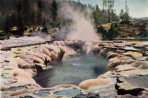 Oblong Geyser, Yellowstone Park. Illustration for America in Pictures by H Clive Barnard (A&C Black, 1916).