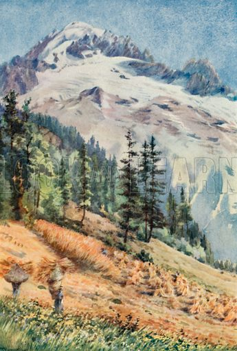 The Aiguille Verte and the Aiguille Du Dru, Autumn. Illustration for Chamonix, Pictured and Described by G Flemwell (Blackie, 1913).