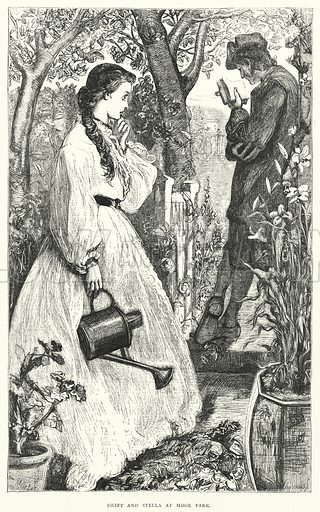 Swift and Stella at Moor Park. Illustration for biographical section on Jonathan Swift in a new edition of Gulliver's Travels by John Francis Waller (Cassell, c 1865).