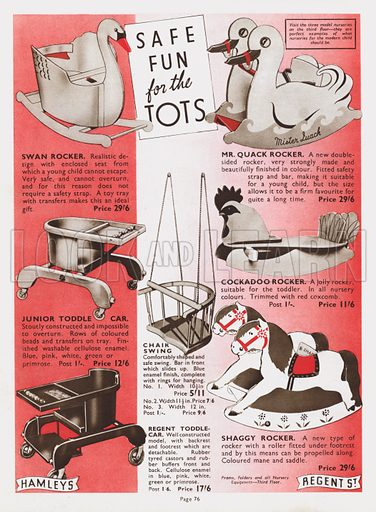 Page from Hamleys Toy Shop catalogue, 1937.