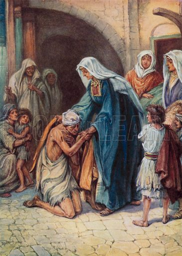 The gifts Dorcas gave. Illustration for Other Helpers of Jesus by Vera Pewtress (Shaw, c 1920).