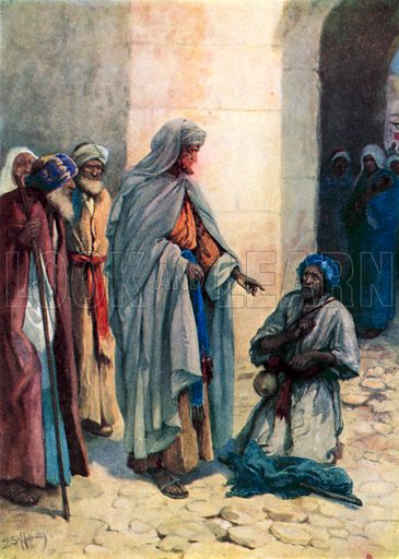 Philip helps the cripple. Illustration for Other Helpers of Jesus by Vera Pewtress (Shaw, c 1920).