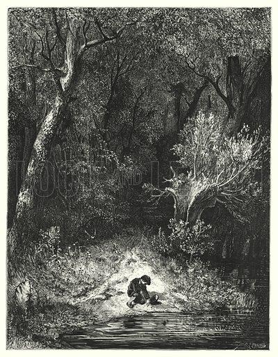 Le Petit Poucet; Hop-O'-My-Thumb.  Illustration for Les Contes de Perrault (J Hetzel, 1869).