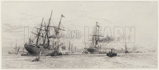 Shipping on the Mersey. Illustration for Lancashire by Leo H Grindon (Seeley Jackson and Halliday, 1882).