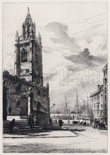 St Nicholas Church, Liverpool. Illustration for Lancashire by Leo H Grindon (Seeley Jackson and Halliday, 1882).