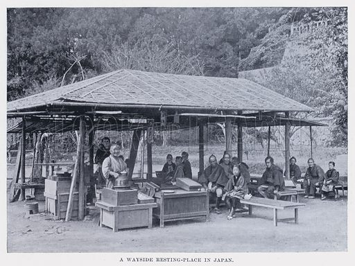 A Wayside Resting-Place in Japan. Living Races of Mankind (Hutchinson, c 1910).  Photographs either late 19th or very early 20th century.
