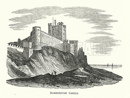 Bamborough Castle. Illustration for The Borderer's Table Book by MA Richardson (Henry G Bohn, 1846).