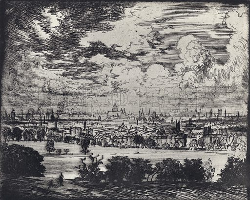 London, over Hampstead. Illustration for A London Reverie by Joseph Pennell, with introductory essay by J C Squire (Macmillan, 1928).