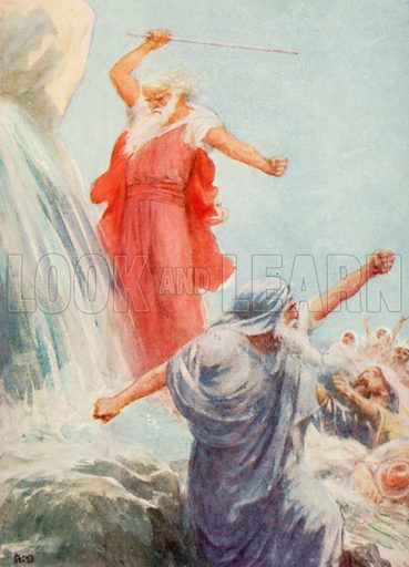 Smiting the Rock. Illustration for Long Ago in Bible Lands by Catharine Shaw (John F Shaw, c 1920).