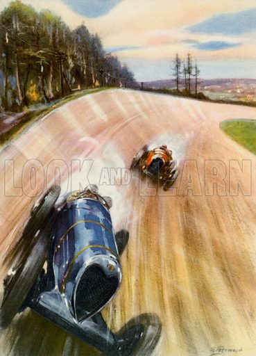 On the race-track. Illustration for My Motor Book (Blackie, c 1950).