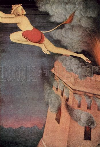 Burning of Lanka. Illustration for Myths of the Hindus and Buddhists by The Sister Nivedita and Ananda K Coomaraswamy with illustrations by Indian artists under the supervision of Abanindro Nath Tagore (Harrap, 1913).