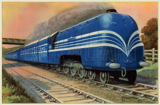 """LMS""""Coronation Scot"""" Express. Illustration for Railroads with full page colour illustrations by GP Micklewright (1945)."""