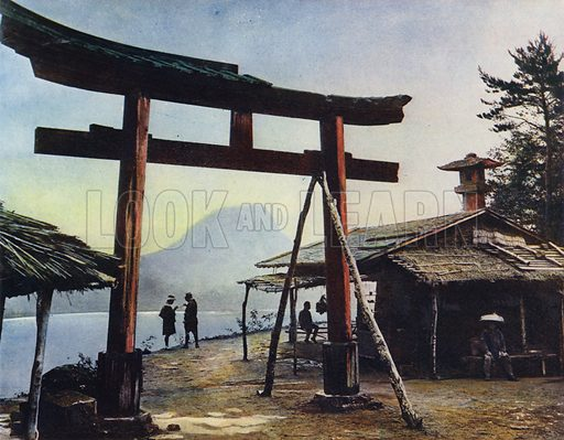 Haruna, Lake Haruna, Torii. Illustration for Shin-To, The Way of the Gods in Japan by George Schurhammer (Kurt Schroeder, 1923).