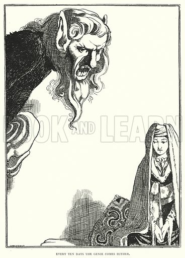 Every ten days the genie comes hither. Illustration for The Arabian Nights Entertainments with several hundred illustrations by WH Robinson, Helen Stratton, AD McCormick, AL Davis and AE Norbury (George Newnes, 1899).