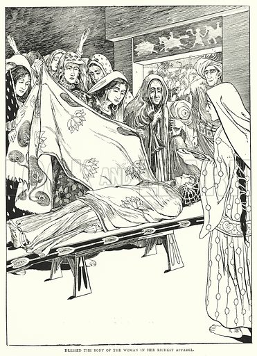 Dressed the body of the woman in her richest apparel. Illustration for The Arabian Nights Entertainments with several hundred illustrations by W H Robinson, Helen Stratton, A D McCormick, A L Davis and A E Norbury (George Newnes, 1899).