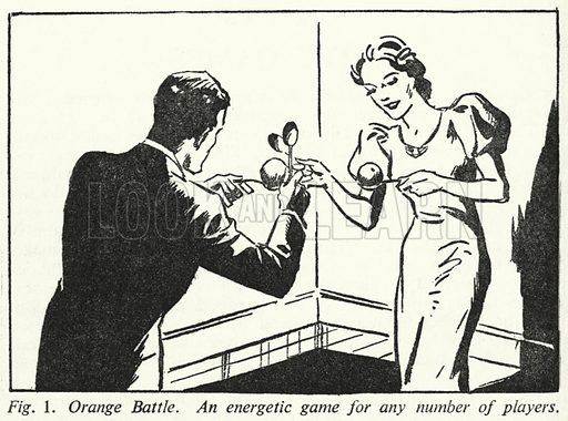 Orange Battle, An energetic game for any number of players. Illustration for The Home Entertainer edited by Sid G Hedges (Odhams, c 1945).