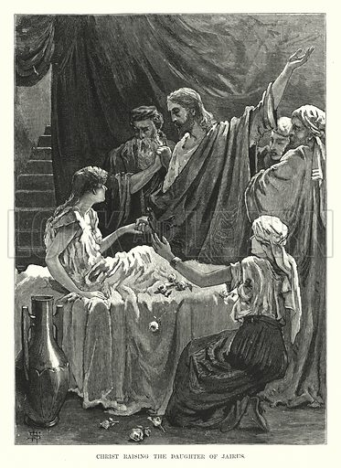 Christ raising the Daughter of Jairus. Illustration for The Child's Life of Christ with Original Illustrations (Cassell, 1882).