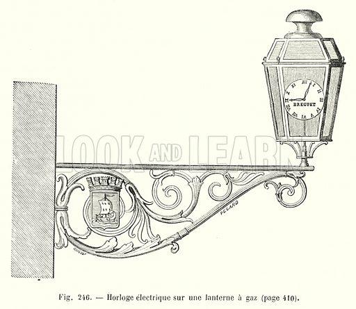 Horloge electrique sur une lanterne a gaz. Illustration for Les Merveilles De La Science ou Description Populaire des Inventions Modernes by Louis Figuier (Furne, Jouvet, c 1870).