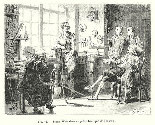 James Watt dans sa petite boutique de Glascow
