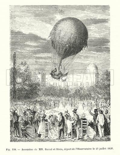 Ascension de MM Barral et Bixio, depart de l'Observatoire le 27 juillet 1850. Illustration for Les Merveilles De La Science ou Description Populaire des Inventions Modernes by Louis Figuier (Furne, Jouvet, c 1870).