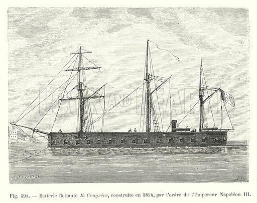 Batterie flottante la Congreve, construite en 1854, par l'ordre de l'Empereur Napoleon III. Illustration for Les Merveilles De La Science ou Description Populaire des Inventions Modernes by Louis Figuier (Furne, Jouvet, c 1870).