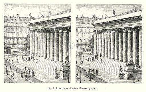 Deux dessins stereoscopiques. Illustration for Les Merveilles De La Science ou Description Populaire des Inventions Modernes by Louis Figuier (Furne, Jouvet, c 1870).