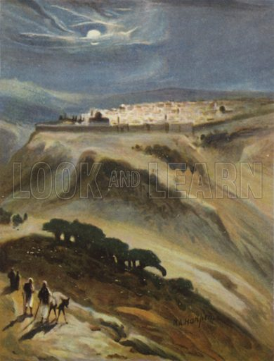 """Jerusalem (moonlight) from Mount Scopus. """"Sing and rejoice, O daughter of Zion, for, lo, I come, and I will dwell in the midst of thee, saith the Lord."""" Zechariah ii, 10. Illustration for The Palestine Pictorial Bible, illustrated by James Clark (1858-1943) and H A Harper (1835 or 1836-1900) (Oxford University Press, c 1900).  Note.  Scan of small original. Only suitable for repro at small size."""