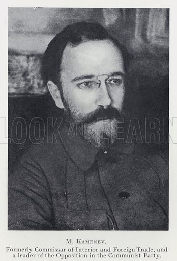 M Kamenev. Formerly Commissar of Interior and Foreign Trade and a leader of the Opposition in the Communist Party. Illustration for The Russian Revolution (1917-1926) by Lancelot Lawton (Macmillan, 1927). Note: Scan of small original.