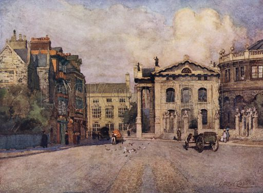 Broad Street. A fine wide street containing many historic buildings and showing the Sheldonian and the old Clarendon Building on the right. Illustration for Oxford by Andrew Lang with illustrations by George F Carline (Seeley, c 1922).