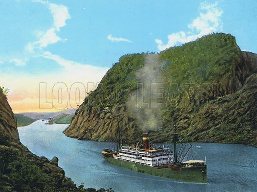 """Grace and Co's boat """"Santa Teresa"""" passing the Culebra Cut, Panama Canal. Illustration for a booklet, The Panama Canal, The World's Greatest Engineering Feat (np, c 1925). The canal opened in 1914."""