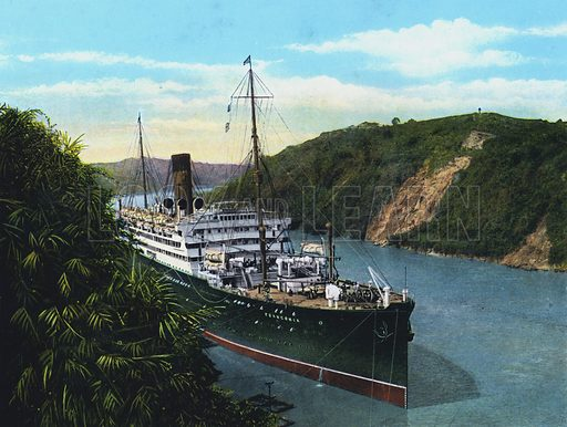 """SS""""Franconia"""" in the Culebra Cut, Panama Canal. Illustration for a booklet, The Panama Canal, The World's Greatest Engineering Feat (np, c 1925). The canal opened in 1914."""