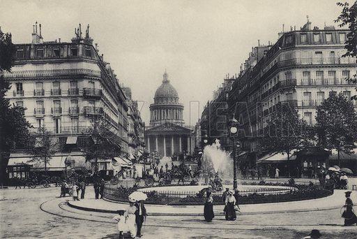 La Rue Soufflot et le Pantheon. Illustration for a souvenir booklet of photographs of Paris, published by Heymann, c 1910).  Gravure printed.