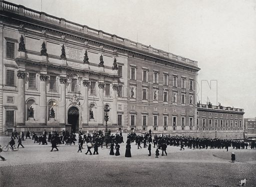 The south side of the Palace. Illustration for Stockholm Sveriges Hufvudstad by Gustaf Upmark (Cederquists Grafiska Aktiebolag, 1912).