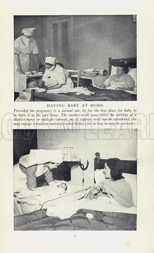 Having baby at home. Page from The Modern Woman's Medical Guide (Odhams, c 1949).