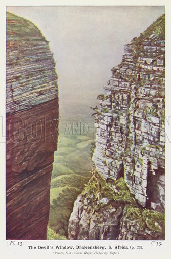 The Devil's Window, Drakensberg, S Africa. Illustration for The World in the Past by B Webster Smith (2nd edn, Frederick Warne, 1931).