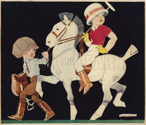 Boy on polo pony, being led by stable girl