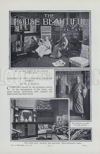 Page from magazine article on the homes of Mortimer Menpes and Lord Leighton.  Illustration for the Harmsworth Magazine, 1899.