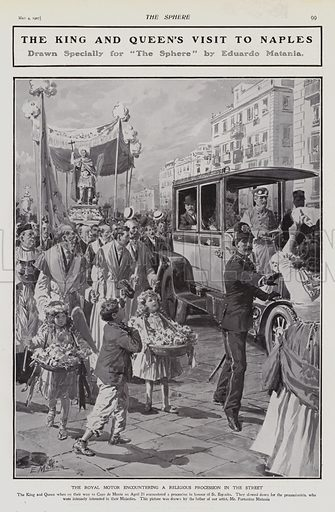 King Edward VII and Queen Alexandra encountering a religious procession on a street during their visit to Naples, Italy, 1907. Illustration for The Sphere, Vol 29, 6 April - 29 June 1907.