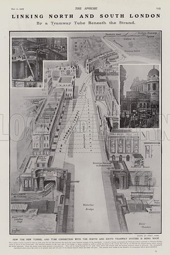Tramway under the Strand to connect North and South London, 1907. Illustration for The Sphere, Vol 29, 6 April - 29 June 1907.