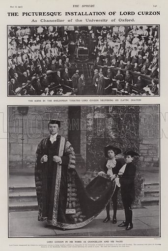 Installation of Lord Curzon as Chancellor of Oxford University, 1907. Illustration for The Sphere, Vol 29, 6 April - 29 June 1907.