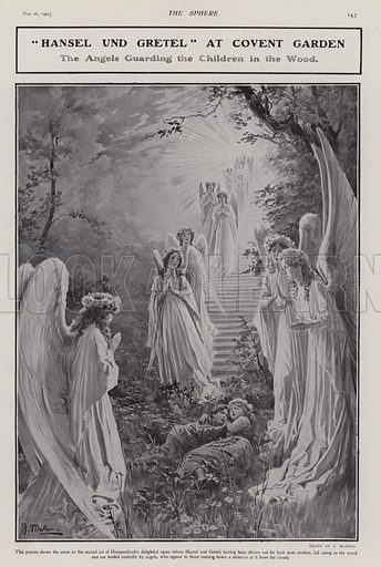 The angels guarding the children in the woods, scene from a production of Engelbert Humperdinck's opera Hansel and Gretel at the Royal Opera House, Covent Garden, London, 1907. Illustration for The Sphere, Vol 29, 6 April - 29 June 1907.