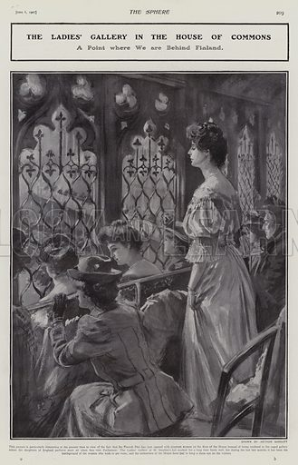 Ladies Gallery in the House of Commons, Westminster, London, 1907. Illustration for The Sphere, Vol 29, 6 April - 29 June 1907.