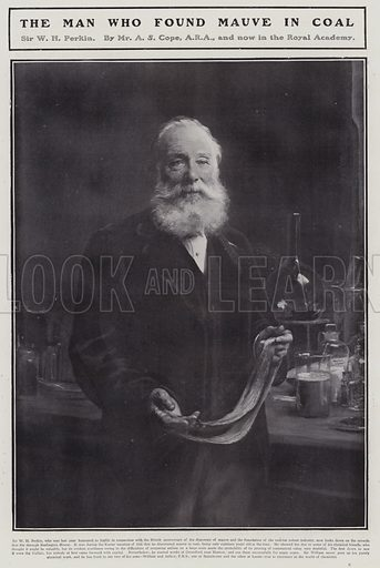 William Henry Perkin (1838-1907), English chemist who discovered the first synthetic organic dye, mauveine. Illustration for The Sphere, Vol 29, 6 April - 29 June 1907.