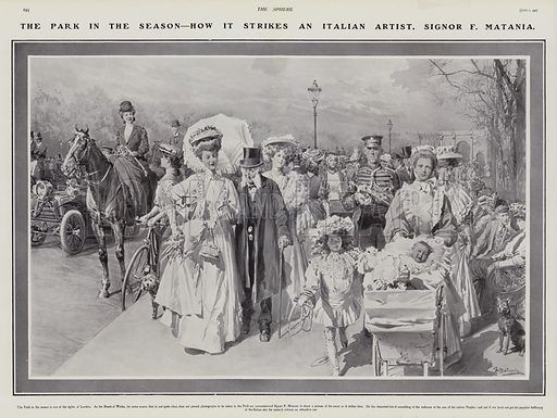 Scene in Hyde Park, London, in summer, 1907. Illustration for The Sphere, Vol 29, 6 April - 29 June 1907.